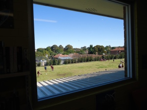 Picture Window looking out to green spaces in a Learning Space at my school