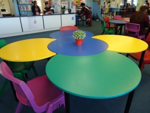 Rounded, bright coloured desks in a Learning Space at my school